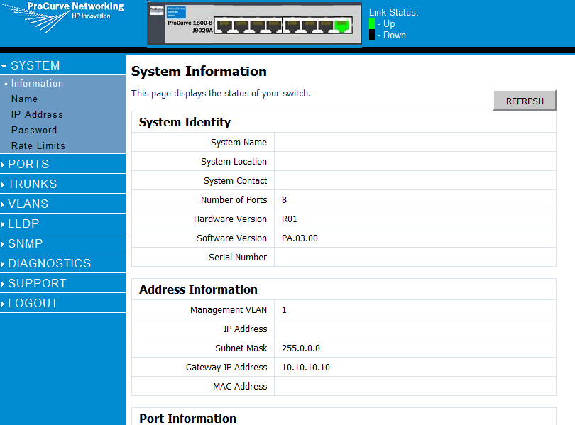HP Procurve 1700/1800 Switch