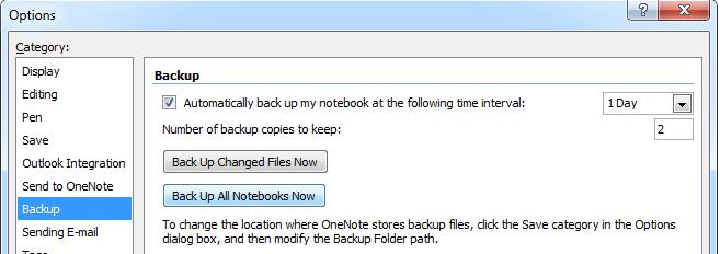 Microsoft OneNote 2007 Backup Now