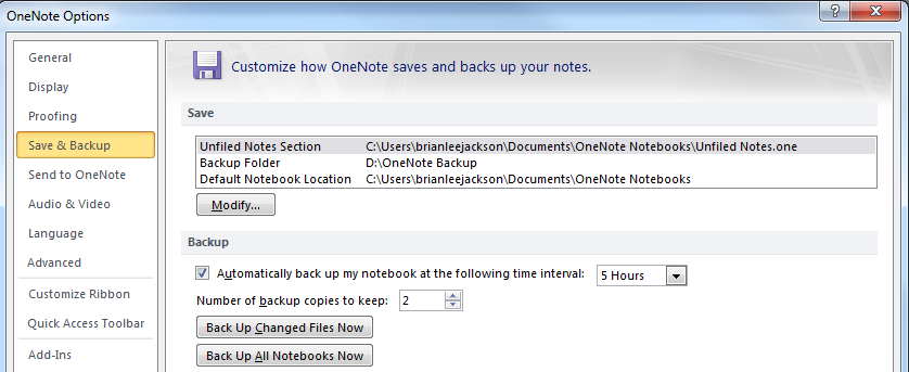 Microsoft OneNote 2010 - Save & Backup Location