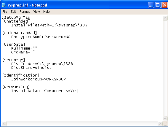 Sysprep - Verifying the Sysprep.inf File