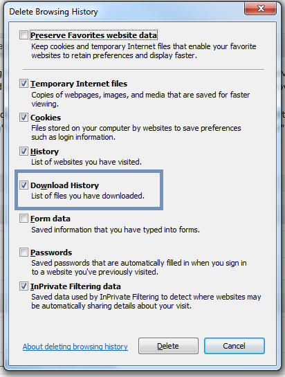 IE9 - Clear Download History