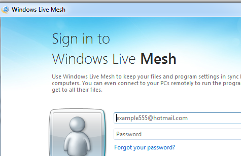 Sign in to Windows Live Mesh