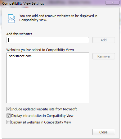 IE9 - Compatiblity View, Add Website