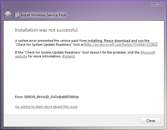 Windows 7 SP1 Installation Was Not Successful