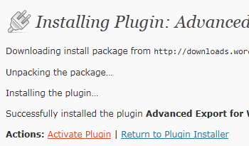 WordPress 3 - Activate Advanced Export Plugin