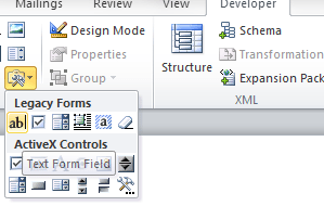 Microsoft Office Text Form Field