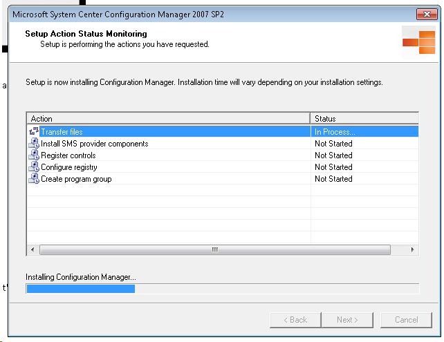 SCCM console Begin Install