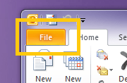 Microsoft Outlook 2010 - Click File