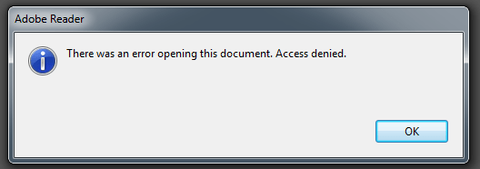 Adobe Reader X Error Opening