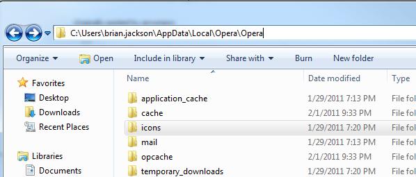 Opera App Data Favicons