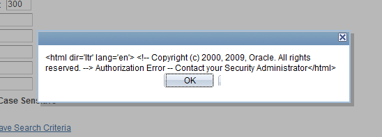 Authorization Error - Contact Your Security Administrator