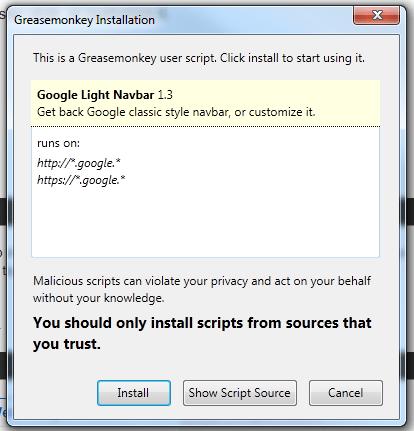 Install Google Light Navbar