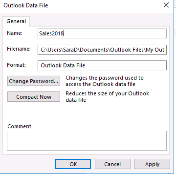Renaming Archive File in Microsoft Outlook