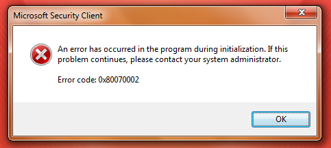 microsoft security client error