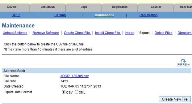 top access address book export
