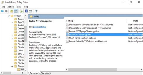 enable NTFS long paths