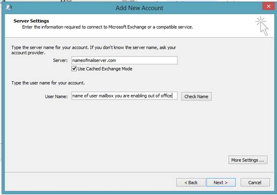 exchange 2016 set out of office for another user