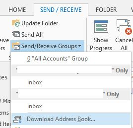 download address book office 365