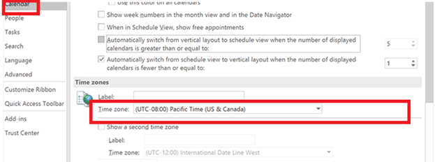 outlook calendar time zone