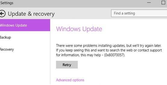 Error 0x80070057 during Windows update