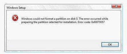 fix error code 0x80070057