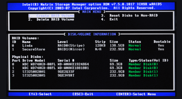 storage manager options ROM