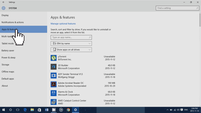 apps features windows 10