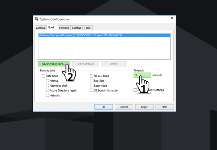 boot options windows 10