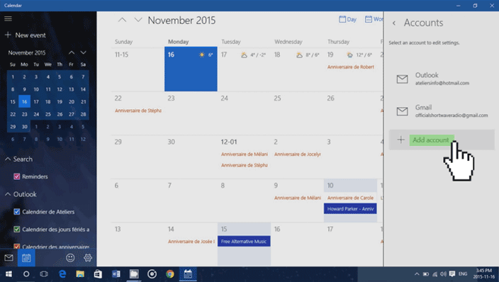 calendar add account windows 10