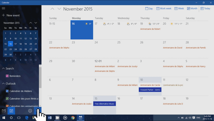 calendar settings windows 10