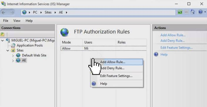 iis manager add allow rule