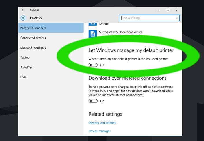 manage default printer windows 10