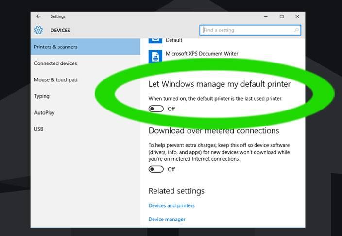 manage default printer windows 10