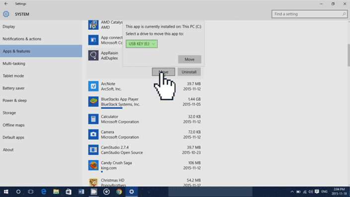 move apps windows 10