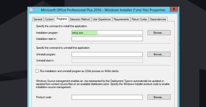 deploy office 2016 with sccm