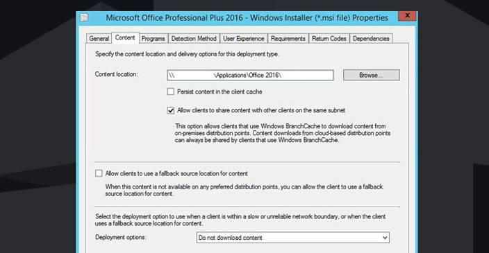sccm install office 2016