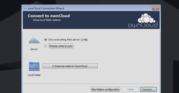owncloud connect sync