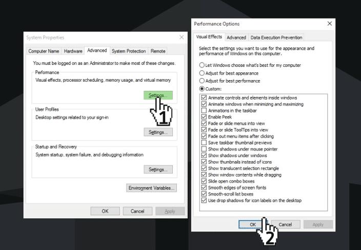 performance options windows 10