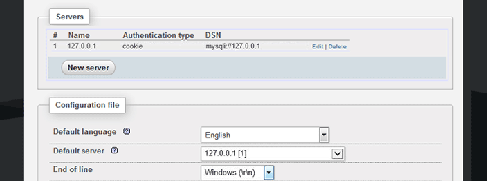 phpmyadmin config file