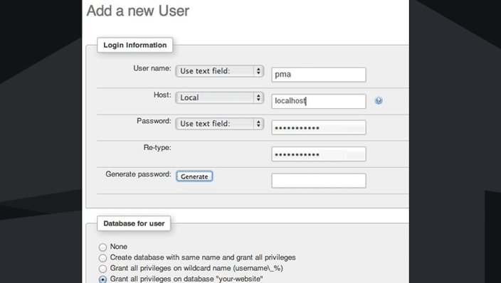 phpmyadmin new user
