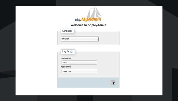 phpmyadmin welcome