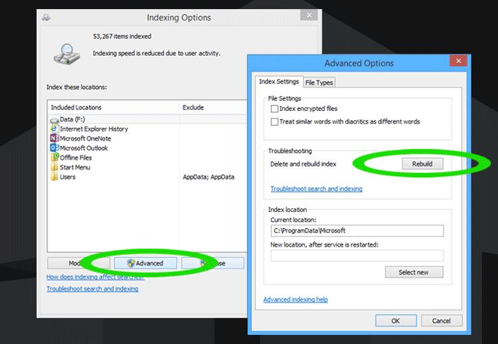 windows search filter host rebuild index