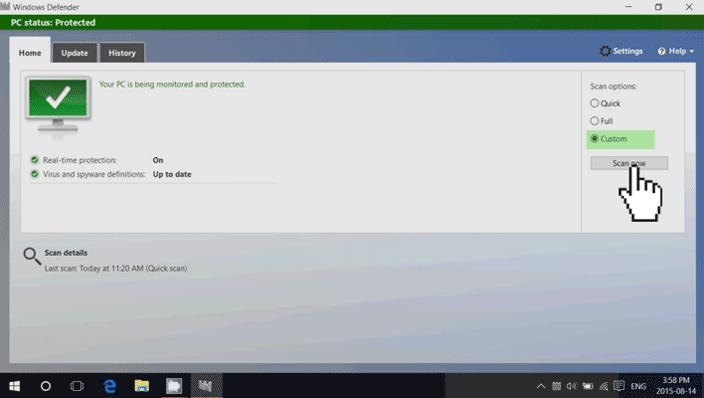windows 10 defender custom scan