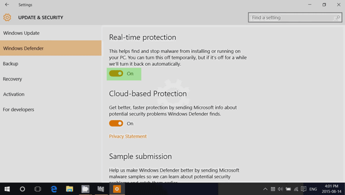 windows 10 defender realtime protection