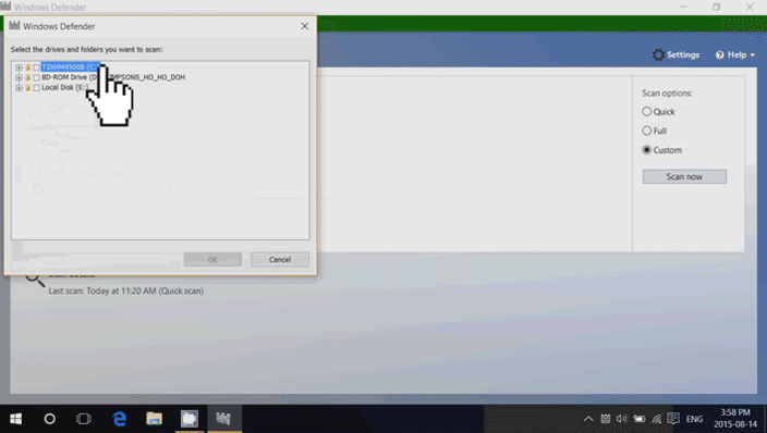 windows 10 defender scan drive