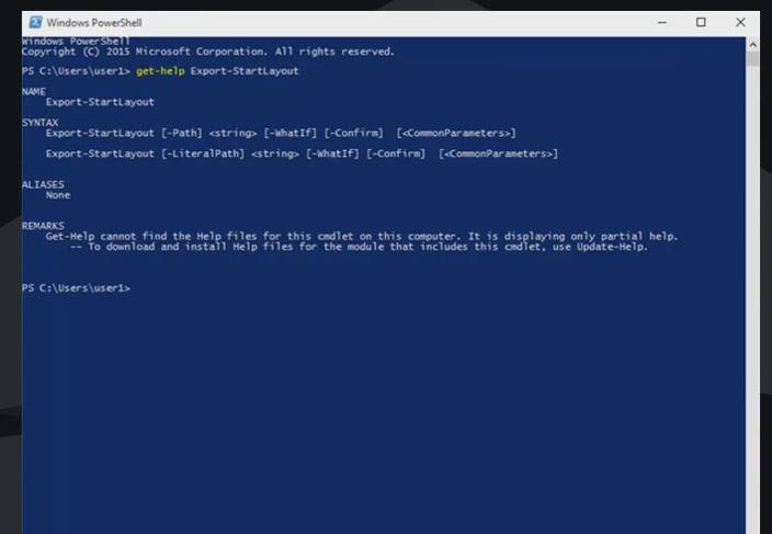windows 10 powershell export layout