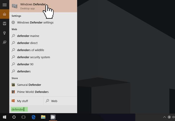 windows 10 start menu defender