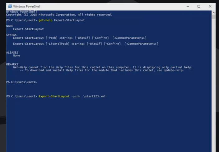windows10 powershell start123xml