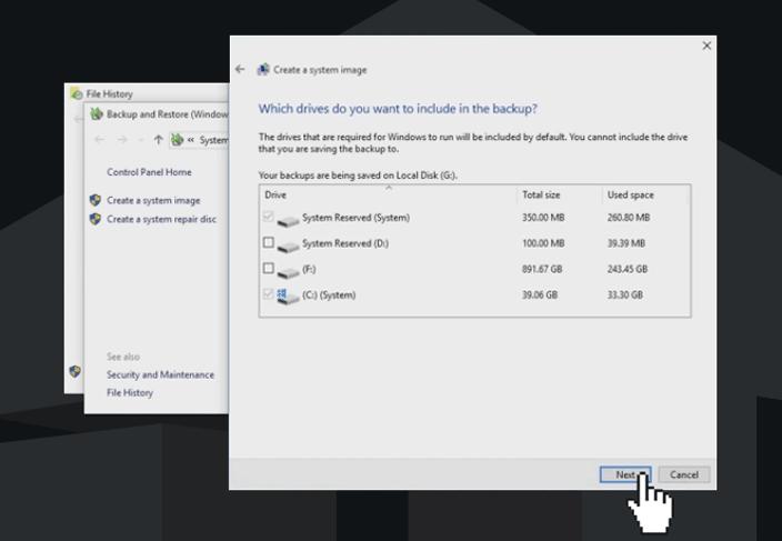 windows 10 backup select drives