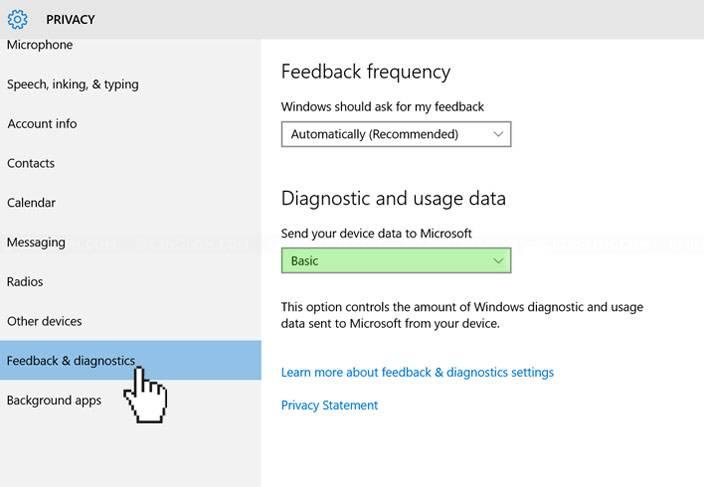 windows 10 settings privacy feedback